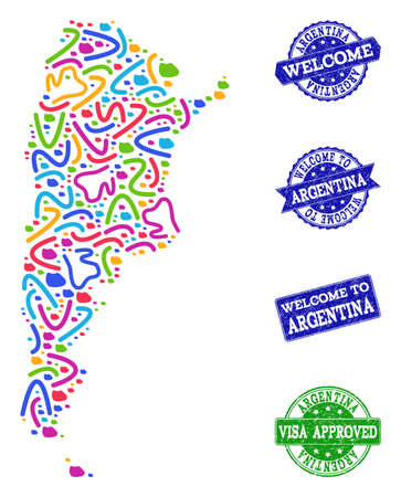 Welcome composition of mosaic map of Argentina and corroded seal stamps. Vector greeting seals with corroded rubber texture. Welcome flat design for guest appreciation purposes.