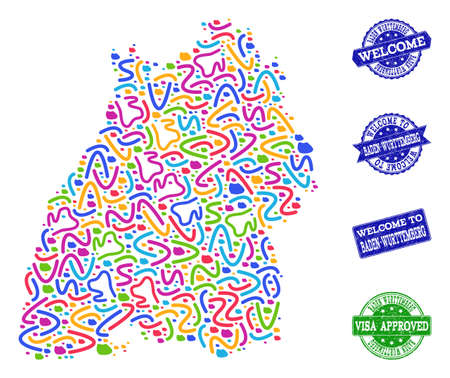 Welcome composition of mosaic map of Baden-Wurttemberg State and corroded seals. Vector greeting watermarks with corroded rubber texture. Welcome flat design for guest appreciation illustrations.