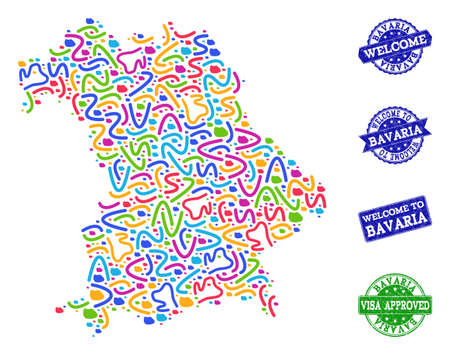 Welcome combination of mosaic map of Bavaria State and rubber seals. Vector greeting seals with distress rubber texture. Welcome flat design for guest appreciation posters.