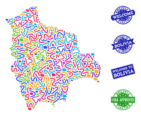 Welcome combination of mosaic map of Bolivia and rubber seal stamps. Vector greeting watermarks with grunge rubber texture. Welcome flat design for patriotic posters.