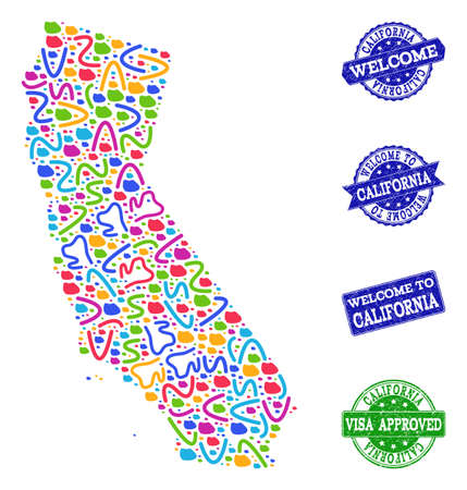 Welcome collage of mosaic map of California and corroded seals. Vector greeting seals with distress rubber texture. Welcome flat design for political posters. Ilustração