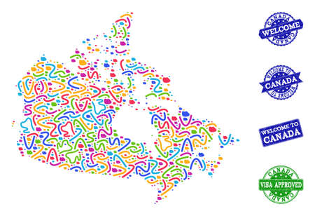 Welcome composition of mosaic map of Canada and grunge seals. Vector greeting seals with scratched rubber texture. Welcome flat design for guest appreciation posters. Illustration