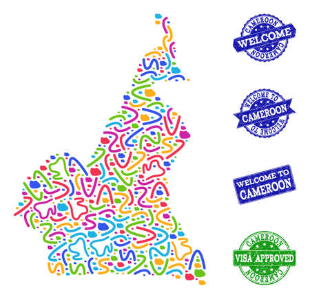 Welcome combination of mosaic map of Cameroon and rubber seals. Vector greeting watermarks with corroded rubber texture. Welcome flat design for patriotic posters.