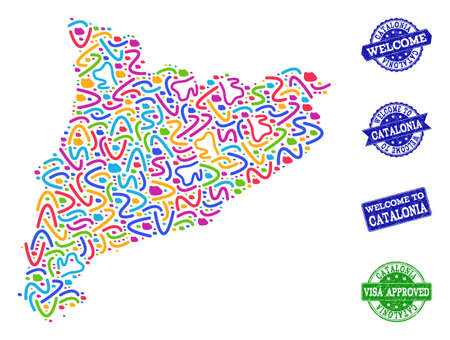 Welcome collage of mosaic map of Catalonia and rubber seal stamps. Vector greeting seals with distress rubber texture. Welcome flat design for tourist greetings templates.