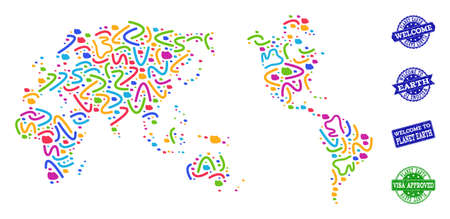 Welcome combination of mosaic map of Earth and rubber seals. Vector greeting seals with unclean rubber texture. Welcome flat design for patriotic purposes. Stock Illustratie