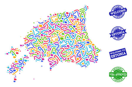 Welcome combination of mosaic map of Estonia and rubber seals. Vector greeting seals with scratched rubber texture. Welcome flat design for patriotic templates.