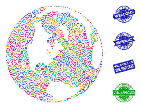 Welcome collage of mosaic map of global world and rubber stamps. Vector greeting seals with unclean rubber texture. Welcome flat design for guest appreciation purposes.