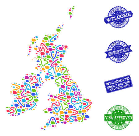 Welcome collage of mosaic map of Great Britain and Ireland and rubber seals. Vector greeting seals with corroded rubber texture. Welcome flat design for guest appreciation purposes.