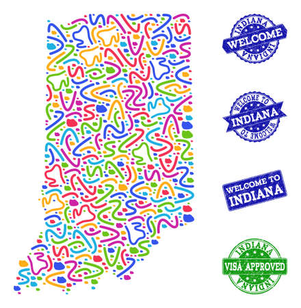 Welcome collage of mosaic map of Indiana State and corroded seal stamps. Vector greeting imprints with corroded rubber texture. Welcome flat design for guest appreciation illustrations.