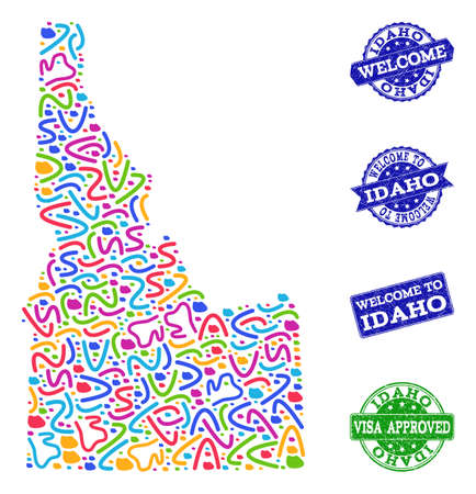 Welcome combination of mosaic map of Idaho State and unclean seals. Vector greeting watermarks with unclean rubber texture. Welcome flat design for guest appreciation posters.