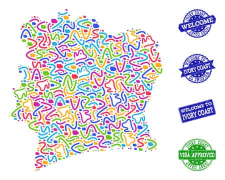 Welcome composition of mosaic map of Ivory Coast and unclean seal stamps. Vector greeting seals with unclean rubber texture. Welcome flat design for guest appreciation templates.