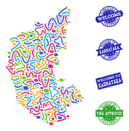 Welcome composition of mosaic map of Karnataka State and grunge seals. Vector greeting seals with distress rubber texture. Welcome flat design for tourist greetings illustrations.