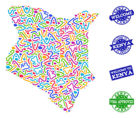 Welcome collage of mosaic map of Kenya and scratched stamps. Vector greeting seals with scratched rubber texture. Welcome flat design for guest appreciation templates. Illustration