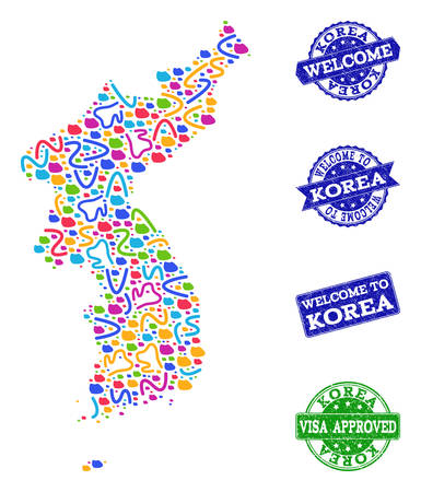 Welcome combination of mosaic map of Korea and corroded stamps. Vector greeting imprints with corroded rubber texture. Welcome flat design for guest appreciation purposes.