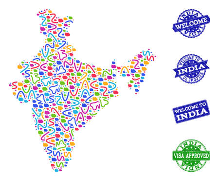 Welcome collage of mosaic map of India and grunge seals. Vector greeting seals with grunge rubber texture. Welcome flat design for guest appreciation posters.