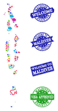Welcome combination of mosaic map of Maldives and rubber seals. Vector greeting seals with distress rubber texture. Welcome flat design for patriotic illustrations.