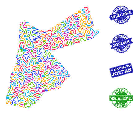 Welcome composition of mosaic map of Jordan and rubber seal stamps. Vector greeting imprints with unclean rubber texture. Welcome flat design for guest appreciation illustrations.