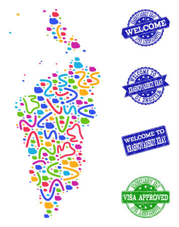 Welcome composition of mosaic map of Krasnoyarskiy Kray and rubber stamps. Vector greeting watermarks with unclean rubber texture. Welcome flat design for political templates. Stock Vector - 128559575