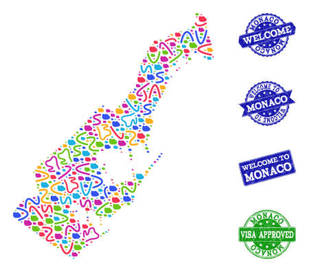 Welcome combination of mosaic map of Monaco and rubber seals. Vector greeting seals with distress rubber texture. Welcome flat design for guest appreciation posters.
