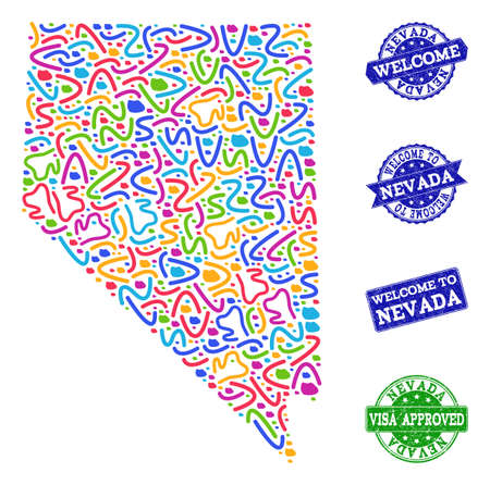 Welcome collage of mosaic map of Nevada State and rubber seals. Vector greeting watermarks with corroded rubber texture. Welcome flat design for patriotic illustrations.