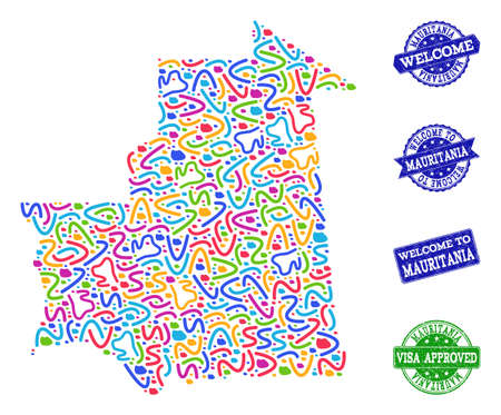 Welcome composition of mosaic map of Mauritania and unclean seal stamps. Vector greeting seals with unclean rubber texture. Welcome flat design for guest appreciation purposes. Illustration
