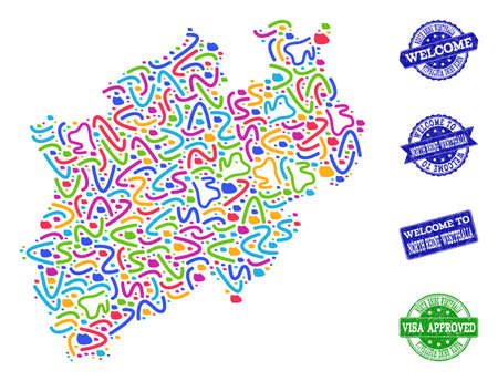 Welcome composition of mosaic map of North Rhine-Westphalia State and grunge seal stamps. Vector greeting imprints with grunge rubber texture. Welcome flat design for guest appreciation templates. Illustration