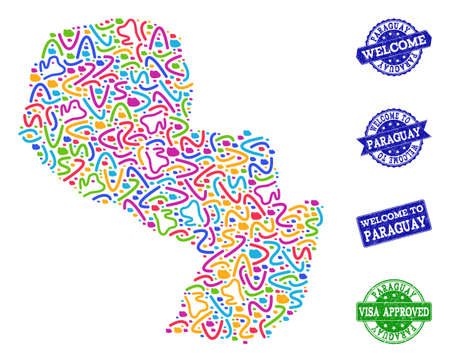 Welcome collage of mosaic map of Paraguay and unclean seals. Vector greeting seals with grunge rubber texture. Welcome flat design for guest appreciation posters.