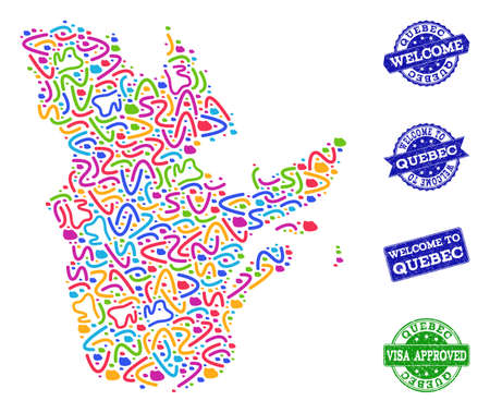 Welcome composition of mosaic map of Quebec Province and unclean seals. Vector greeting seals with unclean rubber texture. Welcome flat design for tourist greetings posters.