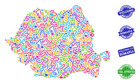 Welcome composition of mosaic map of Romania and rubber seals. Vector greeting imprints with unclean rubber texture. Welcome flat design for tourist greetings illustrations.