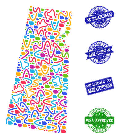 Welcome composition of mosaic map of Saskatchewan Province and grunge seals. Vector greeting seals with scratched rubber texture. Welcome flat design for guest appreciation illustrations.