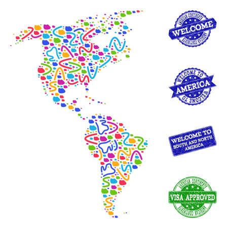 Welcome combination of mosaic map of South and North America and corroded seals. Vector greeting seals with corroded rubber texture. Welcome flat design for guest appreciation purposes.