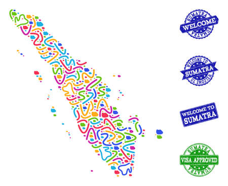 Welcome collage of mosaic map of Sumatra Island and scratched stamps. Vector greeting watermarks with scratched rubber texture. Welcome flat design for political templates.