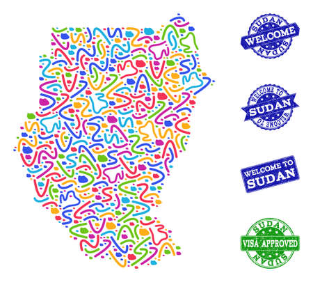 Welcome combination of mosaic map of Sudan and rubber seal stamps. Vector greeting watermarks with corroded rubber texture. Welcome flat design for guest appreciation purposes.