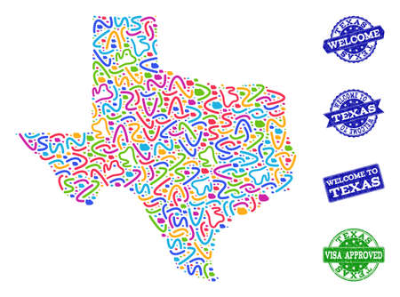 Welcome composition of mosaic map of Texas State and rubber stamps. Vector greeting imprints with distress rubber texture. Welcome flat design for guest appreciation posters.