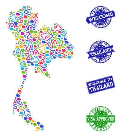 Welcome collage of mosaic map of Thailand and scratched seals. Vector greeting seals with distress rubber texture. Welcome flat design for tourist greetings illustrations.