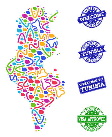 Welcome combination of mosaic map of Tunisia and unclean seals. Vector greeting seals with unclean rubber texture. Welcome flat design for guest appreciation purposes.