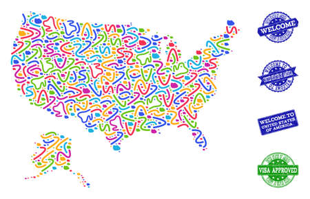 Welcome collage of mosaic map of USA and Alaska and rubber stamps. Vector greeting imprints with distress rubber texture. Welcome flat design for patriotic illustrations.
