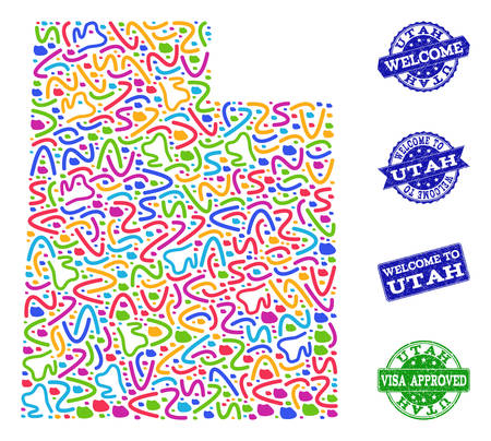 Welcome combination of mosaic map of Utah State and unclean stamps. Vector greeting watermarks with unclean rubber texture. Welcome flat design for tourist greetings purposes.  イラスト・ベクター素材