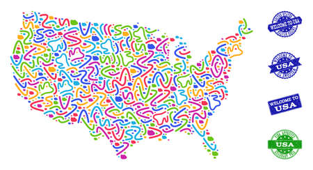 Welcome composition of mosaic map of USA and rubber seals. Vector greeting imprints with distress rubber texture. Welcome flat design for tourist greetings templates. Stock Illustratie