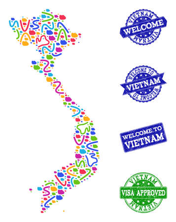 Welcome combination of mosaic map of Vietnam and grunge stamps. Vector greeting imprints with distress rubber texture. Welcome flat design for guest appreciation templates.