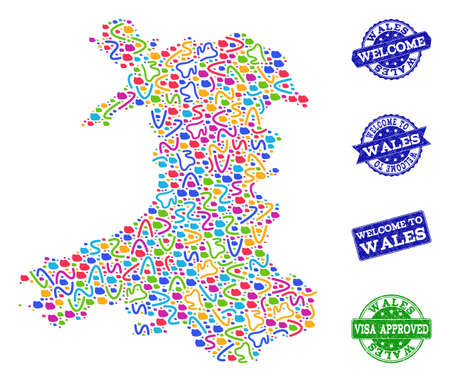 Welcome composition of mosaic map of Wales and rubber seal stamps. Vector greeting watermarks with distress rubber texture. Welcome flat design for guest appreciation illustrations.
