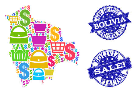 Best shopping combination of mosaic map of Bolivia and rubber seals. Vector blue seals with distress rubber texture for sales. Flat design for advertisement illustrations.