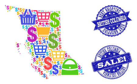 Best shopping composition of mosaic map of British Columbia Province and rubber stamps. Vector blue watermarks with scratched rubber texture for sales. Flat design for shopping templates.