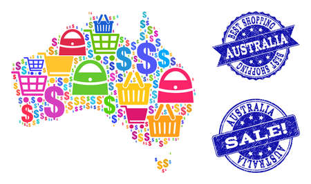 Best shopping collage of mosaic map of Australia and corroded seals. Vector blue seals with corroded rubber texture for sales. Flat design for promotion purposes. 向量圖像