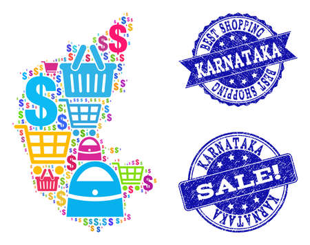 Best shopping composition of mosaic map of Karnataka State and unclean seal stamps. Vector blue watermarks with unclean rubber texture for sales. Flat design for shopping posters.