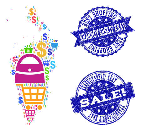 Best shopping collage of mosaic map of Krasnoyarskiy Kray and rubber stamps. Vector blue imprints with scratched rubber texture for sales. Flat design for shopping templates.