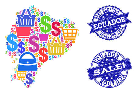 Best shopping combination of mosaic map of Ecuador and grunge seals. Vector blue watermarks with grunge rubber texture for sales. Flat design for shopping purposes. Ilustração