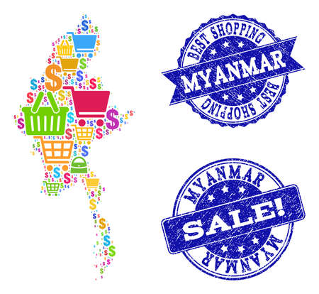 Best shopping collage of mosaic map of Myanmar and corroded seals. Vector blue seals with corroded rubber texture for sales. Flat design for shopping posters.