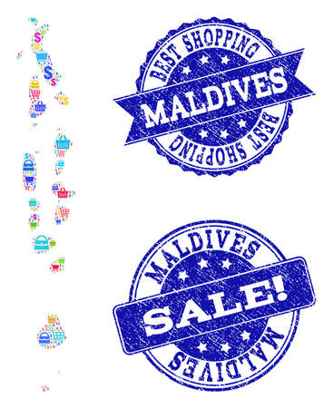 Best shopping composition of mosaic map of Maldives and rubber seals. Vector blue imprints with unclean rubber texture for sales. Flat design for shopping templates.