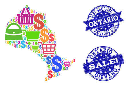 Best shopping composition of mosaic map of Ontario Province and dirty seals. Vector blue watermarks with unclean rubber texture for sales. Flat design for shopping posters.